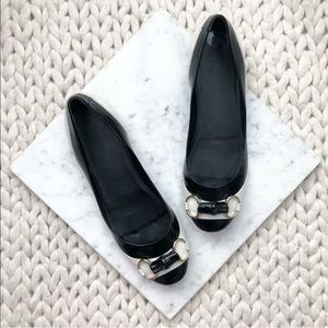 Gucci Black and White Bamboo Ballet Flats